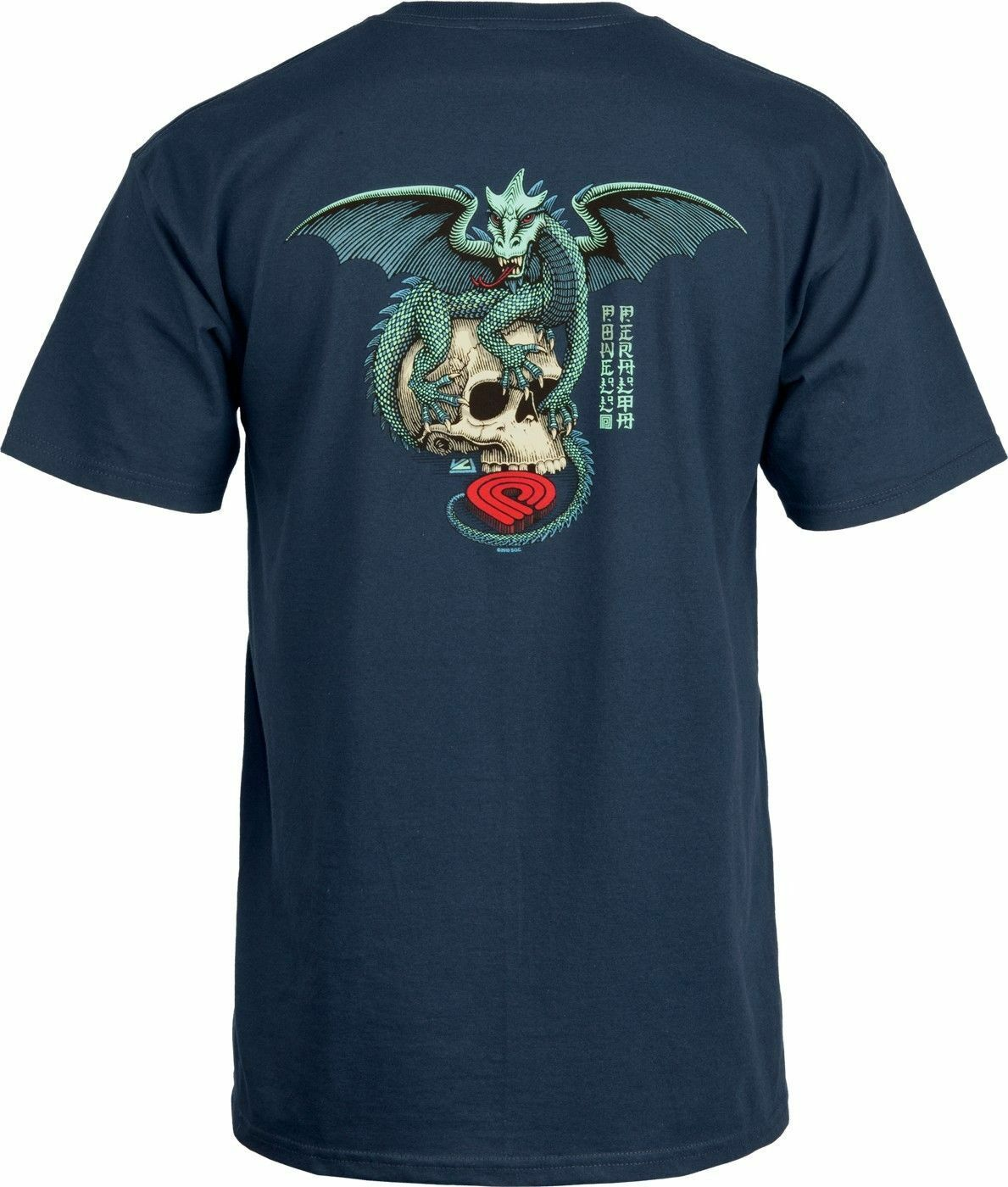 Powell Peralta T shirt Dragon Skull in Navy MSRP $24 Round Neck Best Selling Male Natural Cotton Shirt TOP TEE in T Shirts from Men 39 s Clothing