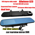 4.3inch car rearview Mirror DVR Car camera Dual Lens Allwinner A20 front 140 degree and back 120 degree viewing angle