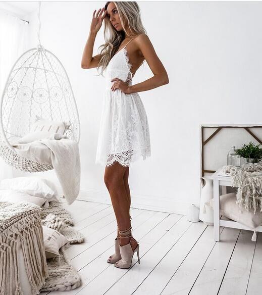 Cute white lace backless dress 3