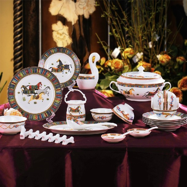 China Jingdezhen ceramics high-end European horse bone china tableware suit 56 authentic Korean dishes & China Jingdezhen ceramics high end European horse bone china ...