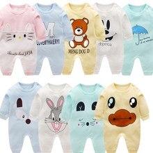 Mono de manga larga 100% algodón para Primavera, pijama de bebé, niño y niña, peleles de bebé, suave, 3 unidades/lote, 2019