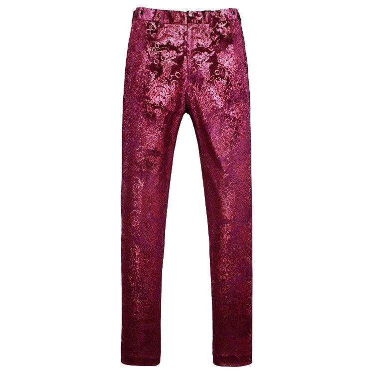 Роскошный красный цветочный стимпанк костюм из 3 предметов с узором пейсли, мужские костюмы на свадьбу, выпускной, с брюками, мужской облегающий сценический костюм, Homme - 4
