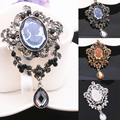 High - end retro beauty head Queen queen crystal head brooch female jewelry