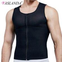 VASLANDA Mens Compression Shirt Slimming Body Shaper Fitness Undershirts Musculation Vest Bodybuilding Clothing Sweat Sauna Suit