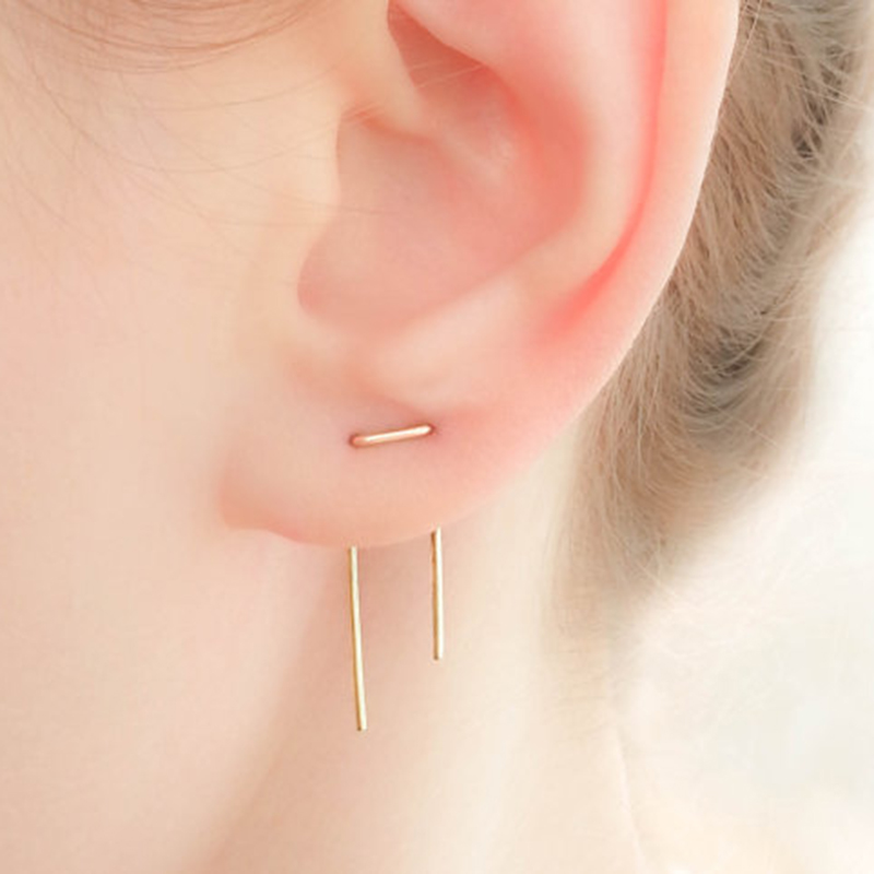 цены Jewelry Earrings for Women Handmade Two Hole Asymmetrical Length Creative Double Piercing Oorbellen Pendientes Earrings