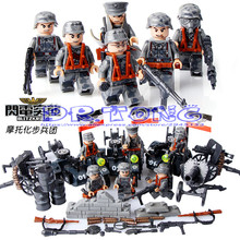 DR TONG WW2 US World War II Military Waffen Motorcycle Guns Weapons War Army Building Blocks