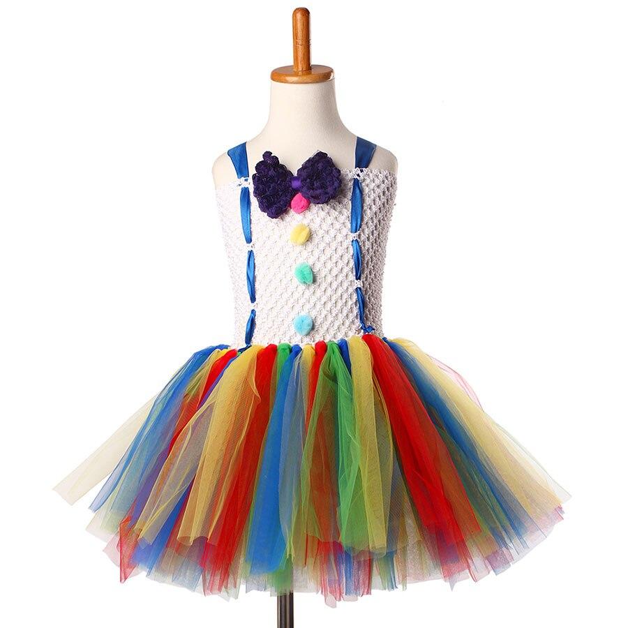 Girls Circus Fancy Clown Tutu Dress with Bow Children Handmade Rainbow Tulle (12)
