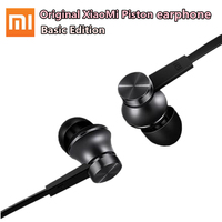 100 Original Xiaomi Mi Piston Earphone Basic Edition Stereo Earphones Mic Microphone Wire Control Earphone For
