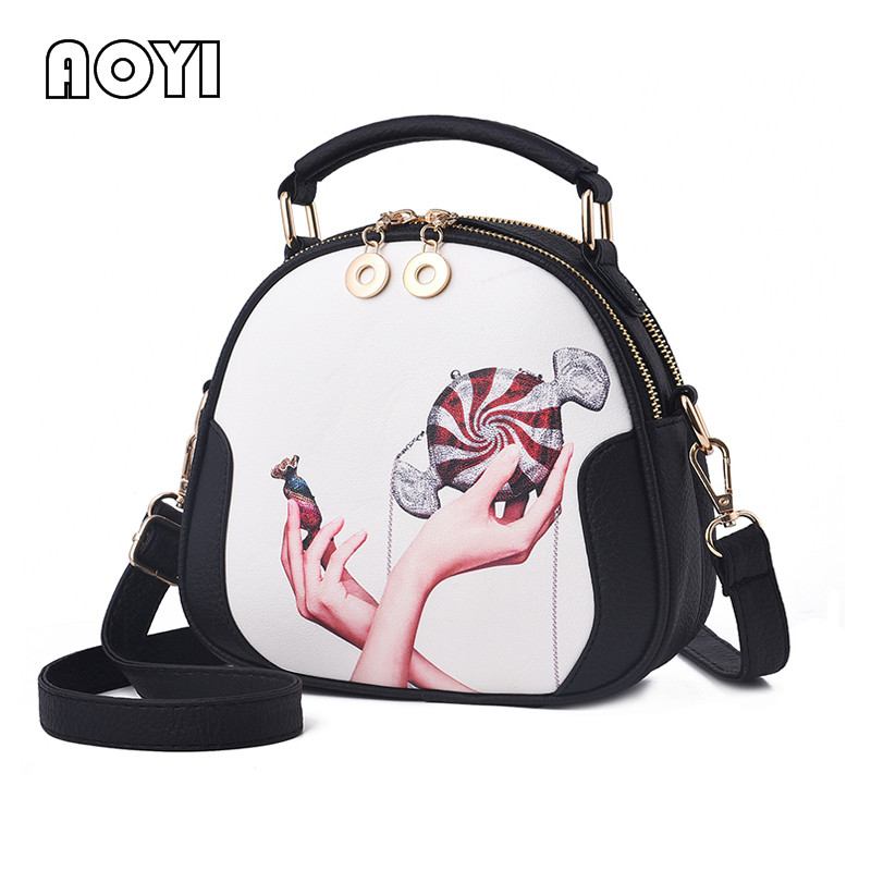 AOYI Fashion Women Bag Casual PU Leather Shoulder Bag Messenger Crossbody Bags Round Stylish Print Bag for Girls Female Handbag women messenger bag solid tassel vintage handbag pu leather for teenage girls shoulder crossbody bags black female 2017 xa1125h