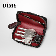 DIMY Mens Leather Key Wallets Business Fashion Hooks Bag Coin Purse Card Slots Simple Large Capacity Ring Storage Pouch