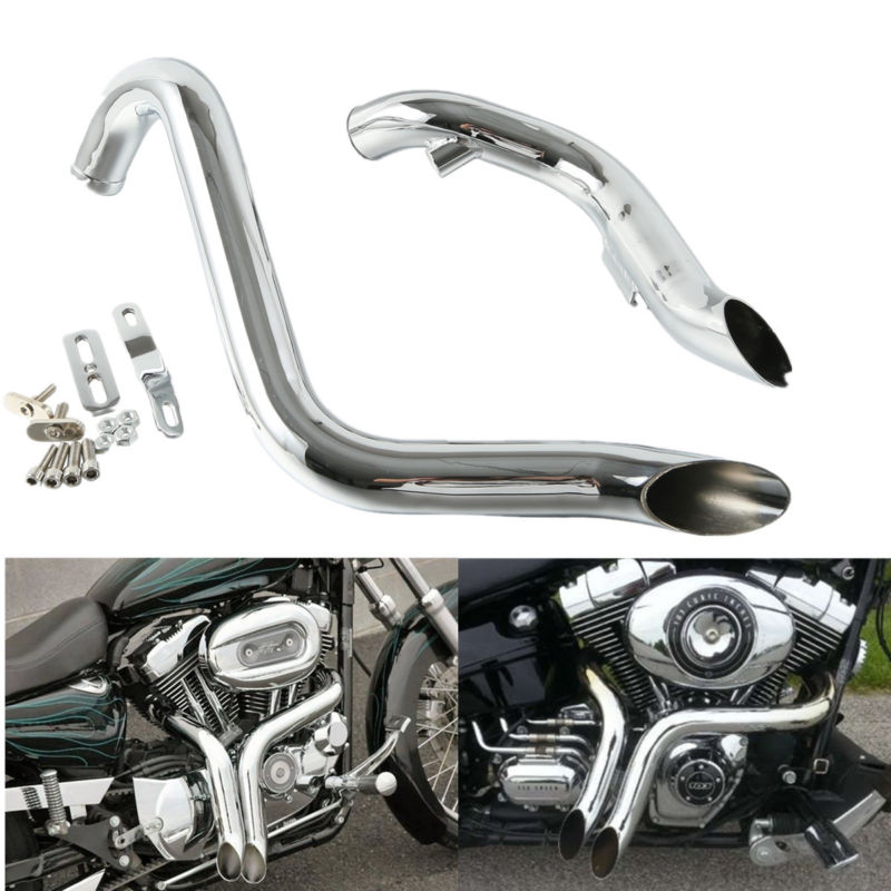 TCMT Black 1.75 Drag Pipes Exhaust Fits For Harley Touring 1984-2016 Dyna 1991-2017