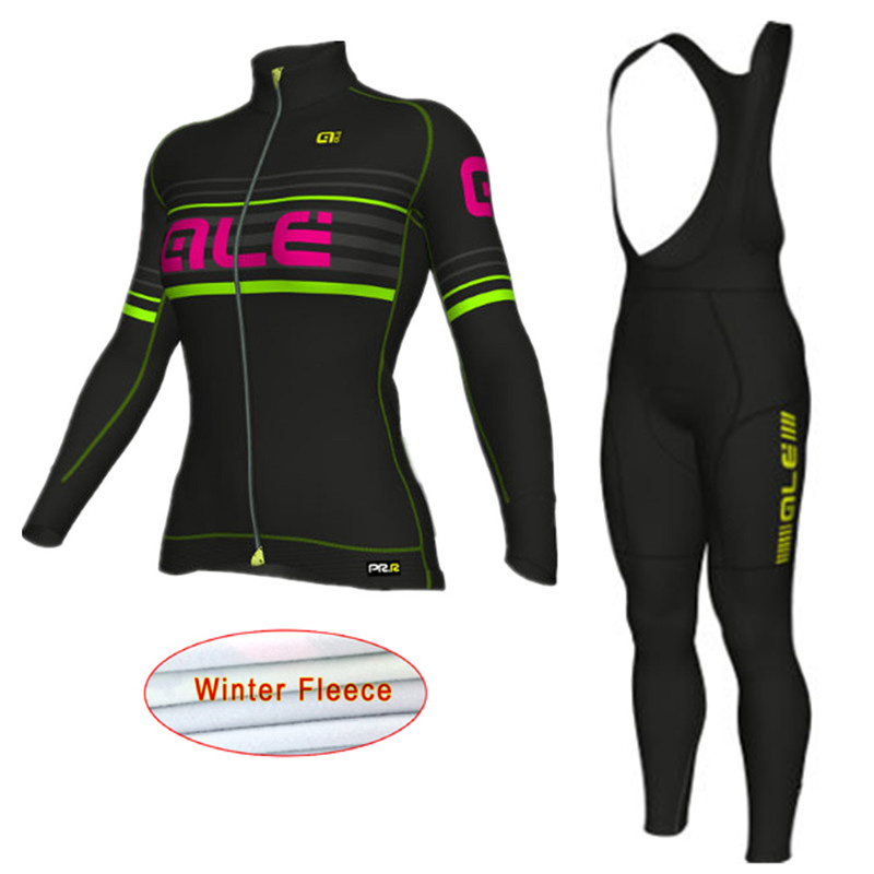 Maillot Ciclismo ALE women Cycling Jersey Winter Thermal Fleece Long Sleeve shirt +bib p ...