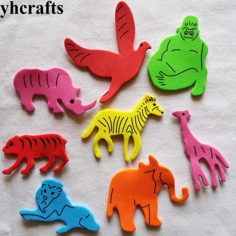 20 Pièces Lot. Hippo Girafe Orang-outan Riger Mousse Autocollants Maternelle Jouets Décoration Murale Auto Apprentissage Cadeaux D'anniversaire En Gros