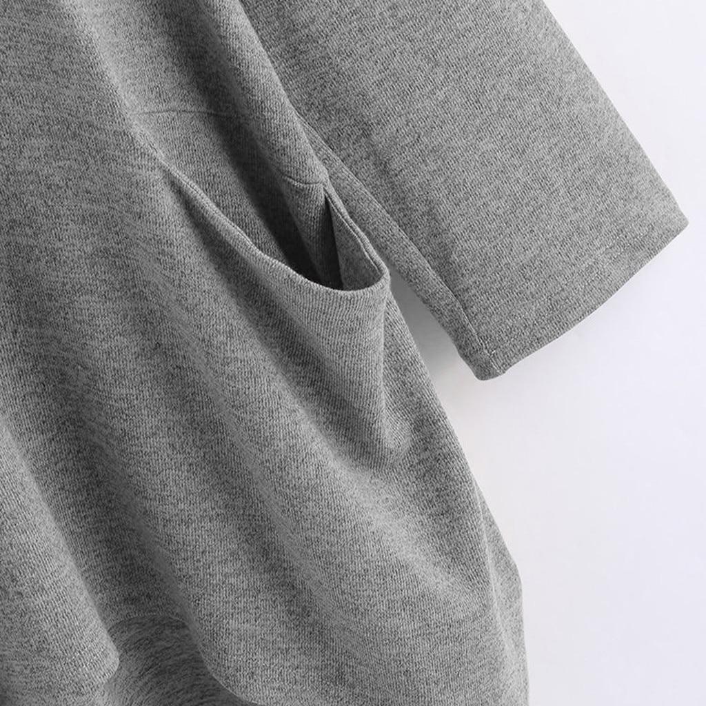Women Casual Printed Cat Ear Hooded T-Shirt Long Sleeves Pocket Irregular fashion 24