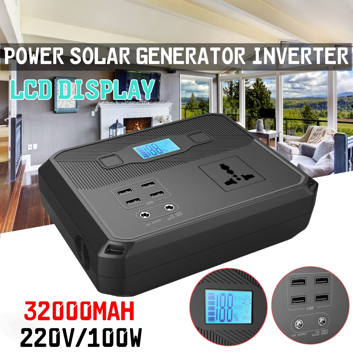 цена на 220V 120Wh 100W Energy Storage Portable Power Solar Generator Inverter faster USB charger for Home Outdoor Camping