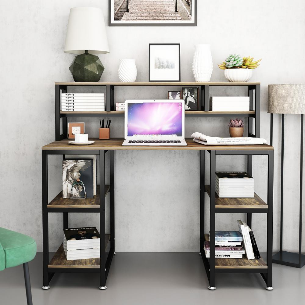 """Computer Desk With Hutch DEWEL 47"""" Office Desk Gaming Table Writing Study Table Workstation With 2 Storage Bookshelf For Home"""