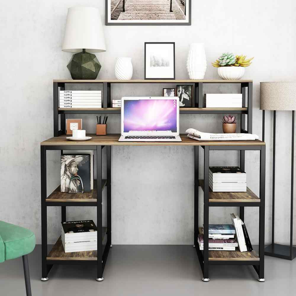 """- Computer Desk With Hutch DEWEL 47"""" Office Desk Gaming Table"""