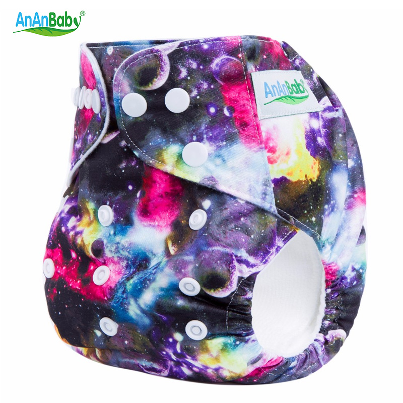 Ananbaby Reusable Baby Cloth Diaper Cover Waterproof Breathable Adjustable Baby Nappy Brand Printing Newborn Cloth Diapers HA004