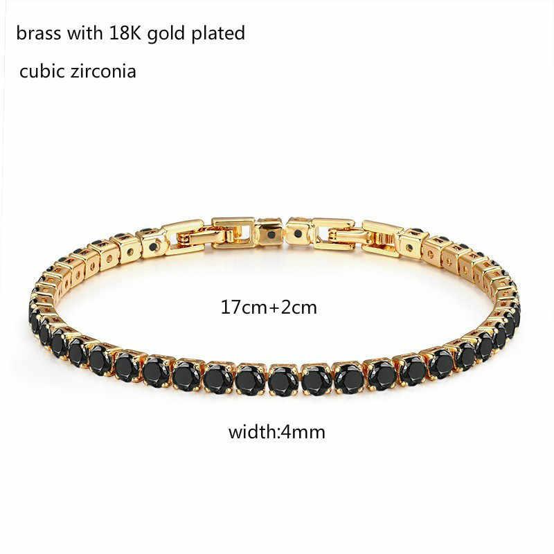 Miedzi w złoty kolor klaster okrągły czarny łańcuch CZ bransoletka tenisowa i Bangles dla kobiet biżuteria dziewczęca bransoletki Pulseras Bracciali