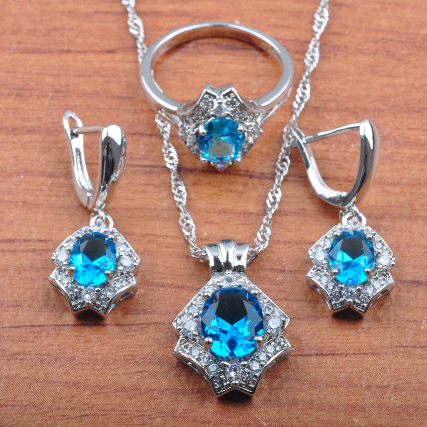 Ring-Gift Jewelry-Box Necklace Earrings Pendant Crystal Silver Wedding JS0483