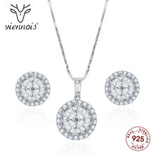 Viennois 925 Silver Round Pendent Necklace Set For Women Rhinestone Stud Earrings Party Jewelry 2019