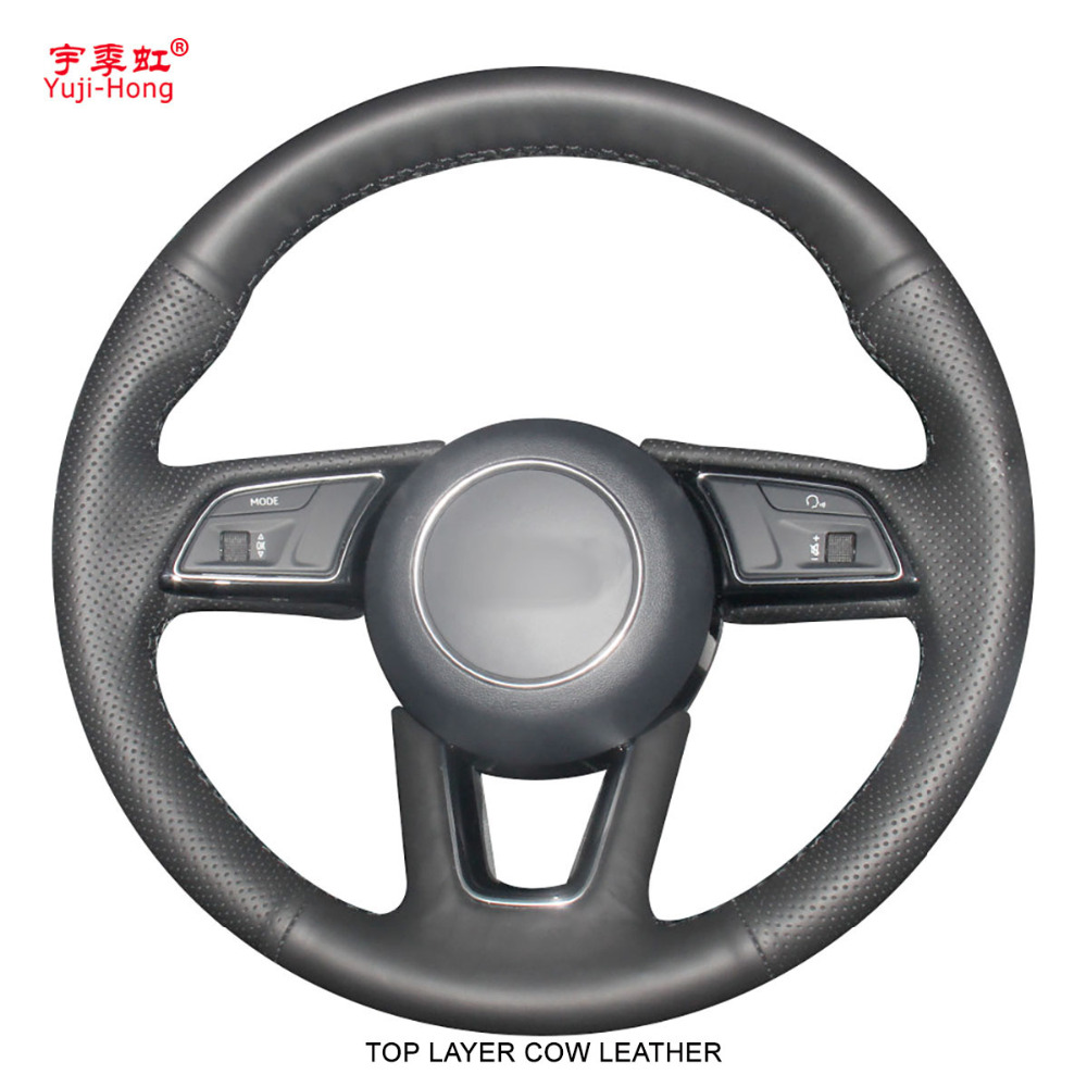 Top Layer Genuine Cow Leather Car Steering Wheel Covers Case for <font><b>Audi</b></font> A4L <font><b>2017</b></font> <font><b>Audi</b></font> <font><b>A5</b></font> <font><b>sportback</b></font> <font><b>2017</b></font> Black image