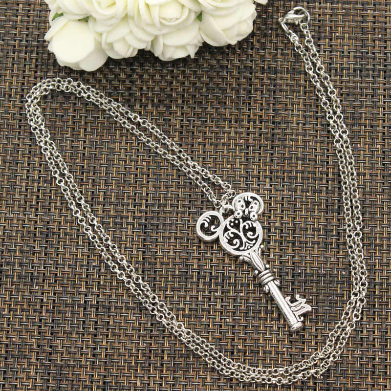 New Fashion Tibetan Silver Pendant vintage mouse key Choker Charm Short Long DIY Necklace Factory Price Handmade jewelry