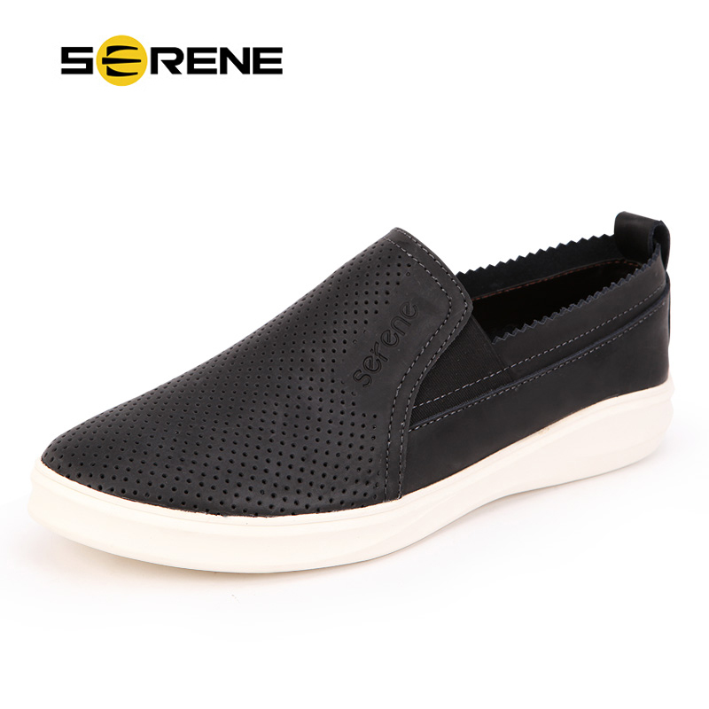 SERENE Brand Men Casual Shoes Fashion Men Shoes Leather Cut-outs Design Comfortable & Breathable Loafers Slip-on Shoes Spring top brand high quality genuine leather casual men shoes cow suede comfortable loafers soft breathable shoes men flats warm