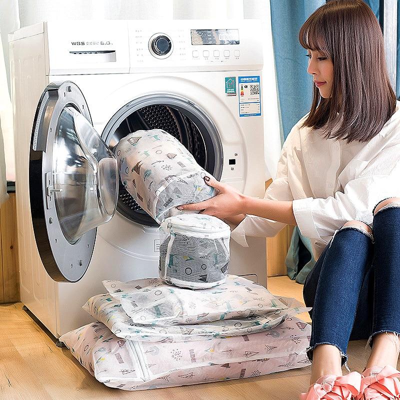 Zippered Mesh Laundry Bag Washing Machine Special Underwear Bra Washing Bag Clothing Underwear Organizer Travel Storage Wash Bag in Laundry Bags Baskets from Home Garden
