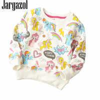 Filles chemise 2018 automne hiver chandail dessin animé poney impression mignon Vetement Enfant Fille enfants hauts capuche pour bébé molleton sweat