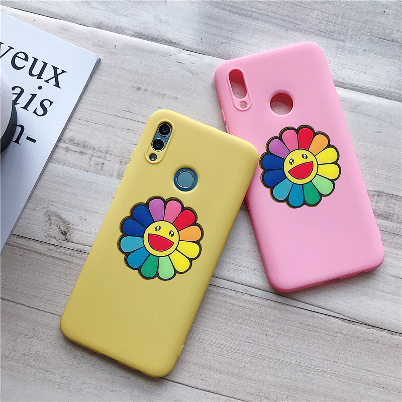 matte 3D solid color flower silicone case for huawei honor 7a 7c pro v9 play v10 view 10 8 9 lite 7s 20 6x soft tpu back cover