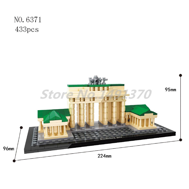 World Famous Cultural Architecture Building Blocks Brandenburg Gate Berlin Mini City Bricks Educational Toys For Children Gifts world famous architecture 1977pcs wange blocks golden gate bridge model building bricks set diy assembly toys for children 8023