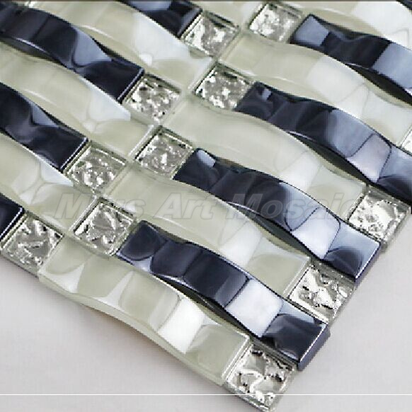 glossy white dark blue arch crystal glass mosaic tilies wall tile
