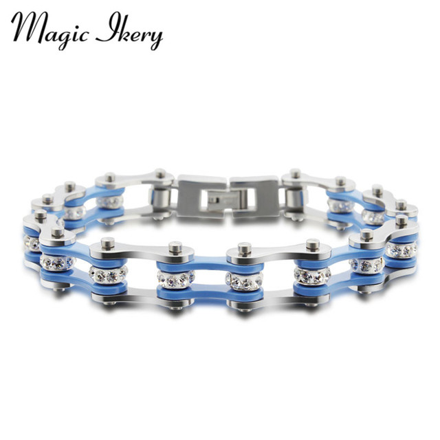 Magic Ikery Bicycle chain titanium steel blue white double color bracelets Bangles Wholesales Fashion Jewelry for women MKBR-091