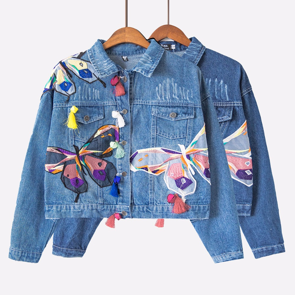 Colorful Butterfly Embroidery Ladies Cropped Jean <font><b>Jackets</b></font> Patch Designs Womens Denim Coats <font><b>with</b></font> Tassel Short Chaquetas C75901J