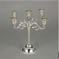 Silver Plated Metal Candle Holder 5 Arms Candle Stand 27cm Height Candelabra