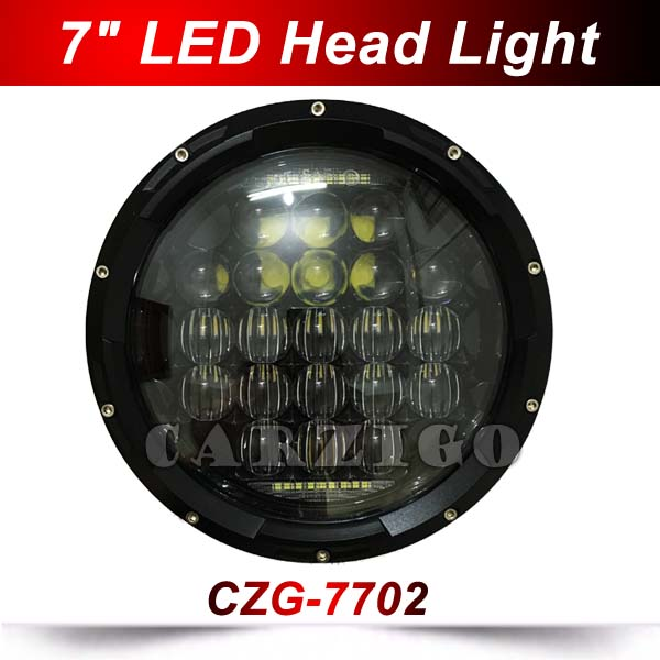 CZG7702 7 inch led headlamp high beam 70w low beam 40w for jeep wrangler with white color DRL 7 headlight for harley motorcycle