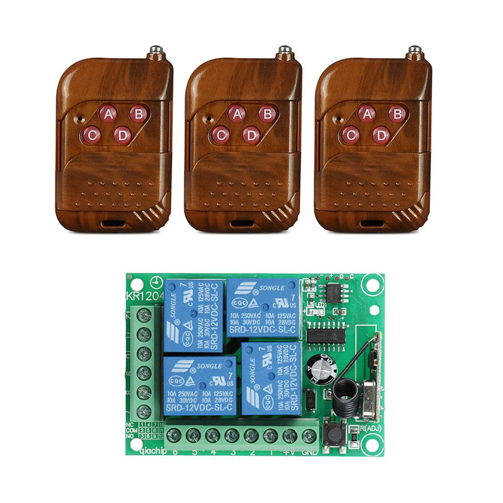 433mhz Universal Wireless Remote Control Switch Dc 12v 4ch Relay The Equipment Has Two Modes Latched 433 Mhz 1527 Learning Code Receiver Module And