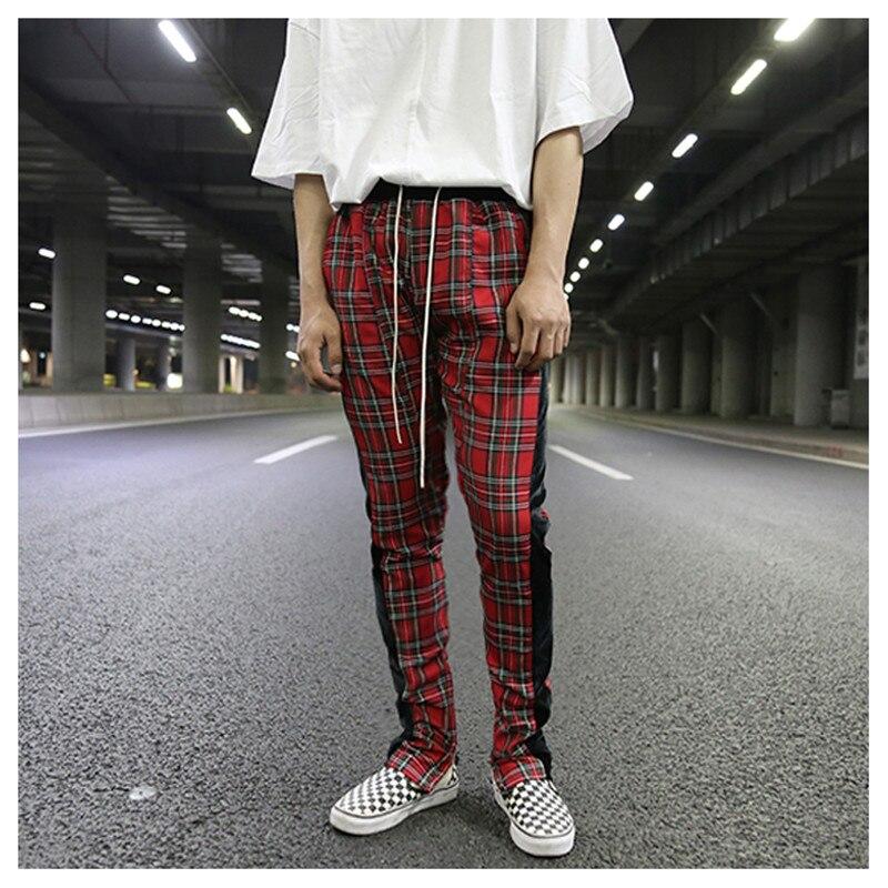 2019 New Scotland Stripe Lattice Pants Mens Color Patchwork Plaid Sweatpant Pant Casual Grid Drawstring Waist Skinny Pants S XXL