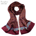 Viscose Hijab Scarf Men Designer Brand Head Scarfs Two-Sided Magic Muffler 100% Satin silk Wine Red Silk scarves and Shawls