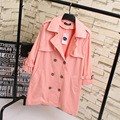 3XL Plus Size Women Double Breasted Trench Coat Casual New Style Loose Turn-down Collar Epaulet Long Trench Pink Sky Blue KK1868