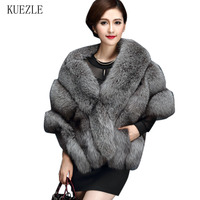 2018 Latest Winter Faux Fur Coats luxury fox fur imitation mink fur poncho bridal wedding cape women vest fur coats Windbreaker