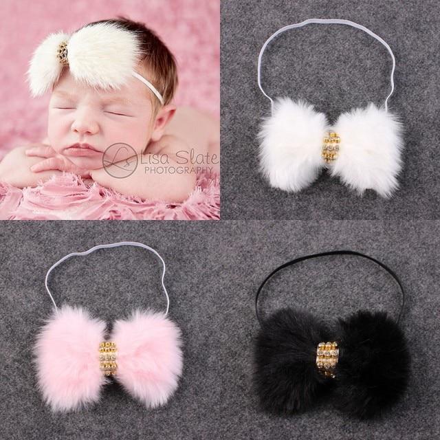 New Baby Fur Headband Newborn Rhinestone Fur Headbands Kids Child Fur Bow  Hair Bands Accessories Baby 03fcff44543