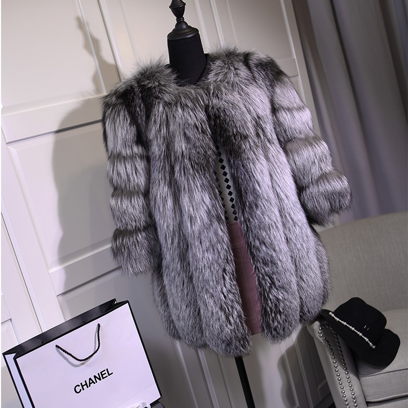 FURSARCAR Fashion Real Fox Fur Coat Women Winter Female Fur Jacket Customize Waistcoat Genuine Leather Silver Real Fox Fur Coats