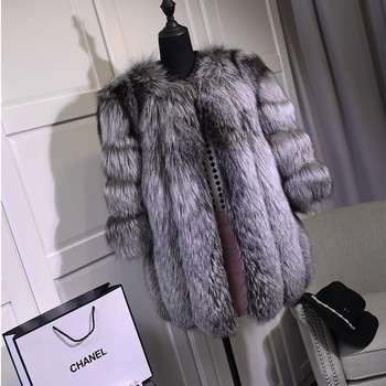 FURSARCAR Fashion Real Fox Fur Coat Women Winter Female Jacket Customize Waistcoat Genuine Leather Silver Coats
