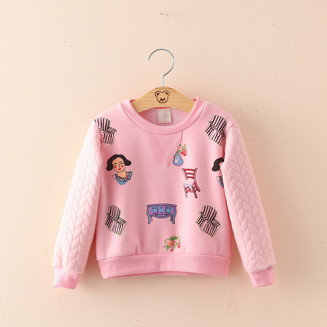 Meninas do bebê roupas crianças pullover camisola de impressão dos desenhos animados das crianças roupas de inverno espessamento além de veludo outerwear