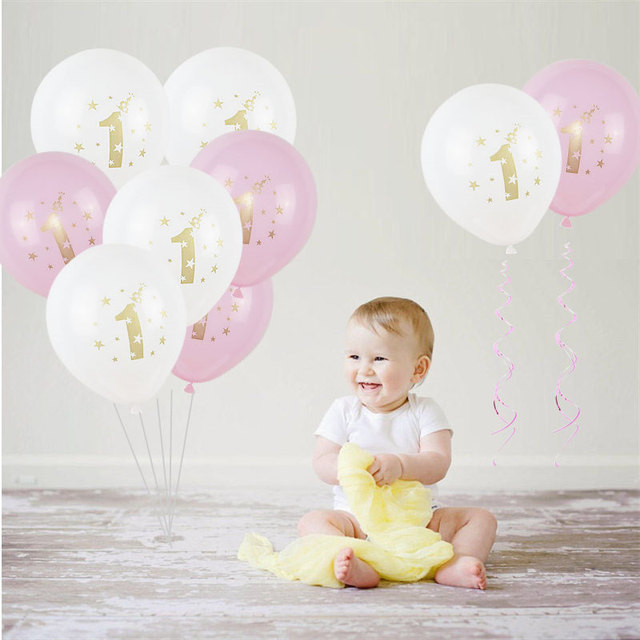 10pcs/lot Happy Birthday Latex Balloon 12inch One year old Air Ball Inflatable Party Decoration Balloon Party Supplies
