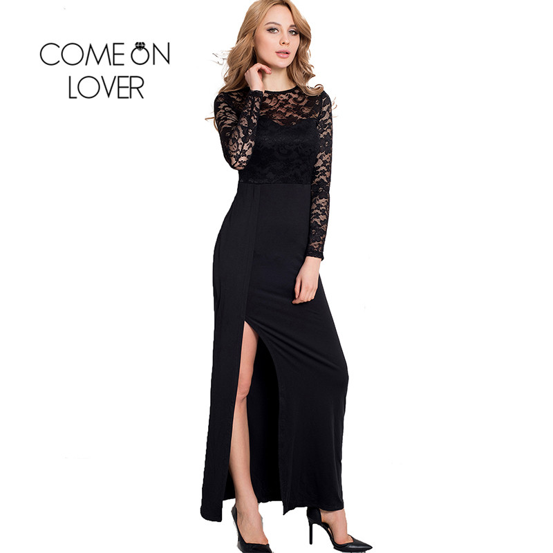 RI70196 Wholesale and retail popular black lace dress long sleeve see  through elegant dress super deal women maxi dresses long cf7cb0537ad4