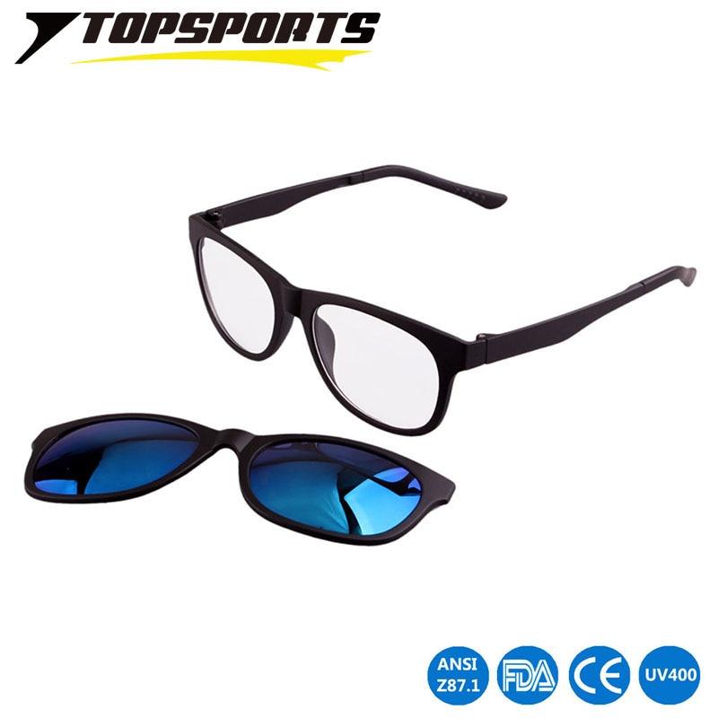 TOPSPORTS Polarized Clip On Sunglasses Pánské brýle na brýle s brýlemi noční brýle pohon Magnet ženy krátkozraký rám Brýle