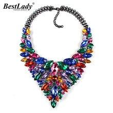 Best lady Color Hot Crystal Gem Luxury Bridal V Shaped Rhinestone Wedding Maxi Statement Necklace Collar Necklace &Pendants0120
